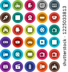 white solid icon set  cinema... | Shutterstock .eps vector #1225033813