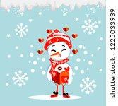 christmas snowman isolated on... | Shutterstock .eps vector #1225033939
