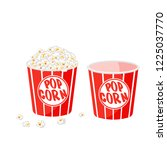 popcorn in a striped tub.... | Shutterstock .eps vector #1225037770