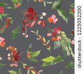 seamless watercolor christmas... | Shutterstock . vector #1225052200