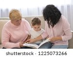 grandmother and daughter... | Shutterstock . vector #1225073266