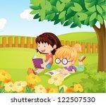 illustration of girls reading... | Shutterstock .eps vector #122507530