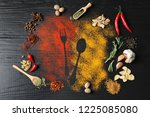 different spices with cutlery... | Shutterstock . vector #1225085080