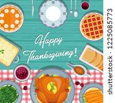 thanksgiving meal on the table. ... | Shutterstock .eps vector #1225085773