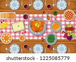 thanksgiving greeting card... | Shutterstock .eps vector #1225085779