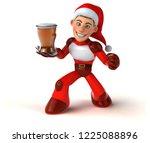 fun super santa claus   3d... | Shutterstock . vector #1225088896
