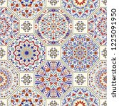 seamless colorful patchwork in... | Shutterstock .eps vector #1225091950