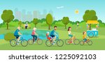 active family riding on... | Shutterstock .eps vector #1225092103