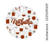 kombucha fermented probiotic...   Shutterstock .eps vector #1225109329