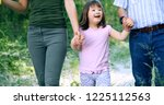 beautiful little girl with down ... | Shutterstock . vector #1225112563