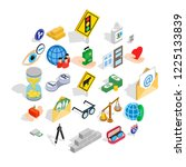 assistance icons set. isometric ... | Shutterstock .eps vector #1225133839