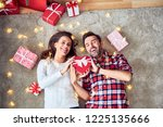 cheerful couple having fun... | Shutterstock . vector #1225135666