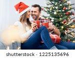 cheerful couple relaxing...   Shutterstock . vector #1225135696