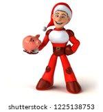 fun super santa claus   3d... | Shutterstock . vector #1225138753