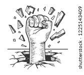 human fist crash wall engraving ... | Shutterstock .eps vector #1225143409
