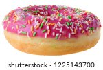 strawberry donut covered with... | Shutterstock . vector #1225143700
