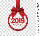 happy new year 2019 round... | Shutterstock .eps vector #1225149700