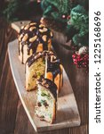 decorated panettone with... | Shutterstock . vector #1225168696