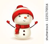 cheerful snowman. isolated. | Shutterstock .eps vector #1225170016