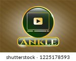 gold emblem or badge with... | Shutterstock .eps vector #1225178593