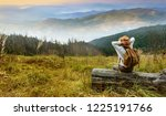 woman traveler with backpack... | Shutterstock . vector #1225191766