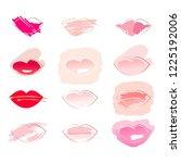 set of 12 lips. golden linear... | Shutterstock .eps vector #1225192006