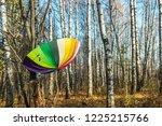 open colored umbrella hanging... | Shutterstock . vector #1225215766