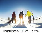 three friends skiers and... | Shutterstock . vector #1225215796