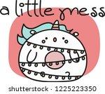 plump unicorn in a xmas lights... | Shutterstock .eps vector #1225223350