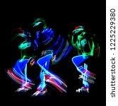 neon glow dancers.... | Shutterstock . vector #1225229380