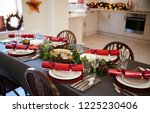 christmas table setting with... | Shutterstock . vector #1225230406
