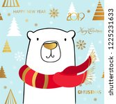 cute polar bear with merry... | Shutterstock .eps vector #1225231633