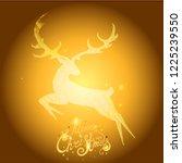 merry christmas golden deer... | Shutterstock .eps vector #1225239550