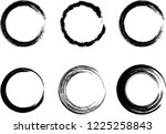 grunge vector circles. brush... | Shutterstock .eps vector #1225258843