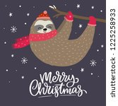 merry christmas card with cute... | Shutterstock .eps vector #1225258933