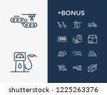 cargo icon set and bulldozer...