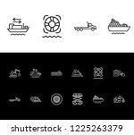 cargo icon set and tyres with...   Shutterstock .eps vector #1225263379
