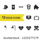 healthy icons set with puzzle ...