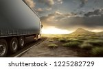 truck on lonely highway | Shutterstock . vector #1225282729