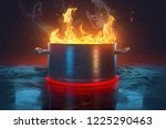 saucepan with flames  3d... | Shutterstock . vector #1225290463