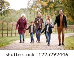 multi generation family on... | Shutterstock . vector #1225292446
