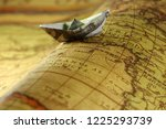 dollar banknotes with world map | Shutterstock . vector #1225293739
