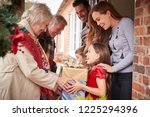 grandparents being greeted by... | Shutterstock . vector #1225294396