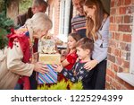 grandparents being greeted by... | Shutterstock . vector #1225294399