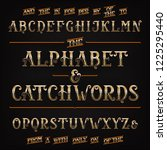 ornate golden alphabet font... | Shutterstock .eps vector #1225295440