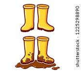 cartoon yellow rubber rain... | Shutterstock .eps vector #1225298890