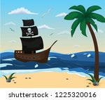 seascape. pirate ship is on the ... | Shutterstock .eps vector #1225320016