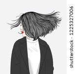 this girl's hair hits the wind...   Shutterstock .eps vector #1225327006