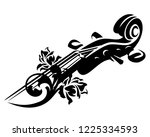 violin or cello neck and rose... | Shutterstock .eps vector #1225334593