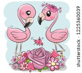 two cute cartoon flamingos with ... | Shutterstock .eps vector #1225360039